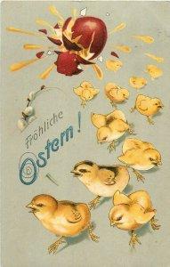 Easter chicken 1908 postcard