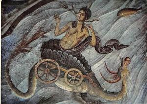 Serbian Frescoes, The Personification of the Sea, Monastery Church Gracanica