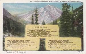Colorado - Poem by Clem York 1916 - Playground of America