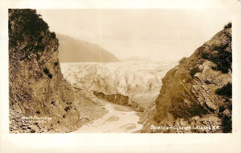 Spencer Glacier AK~Real Photo~Close to the Face of the Glacier~1940s~Post Card