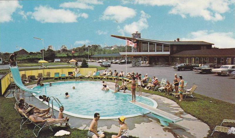 Swimming Pool, Water Slide, Diving Board, Canadian Flag, Ste Agathe ...