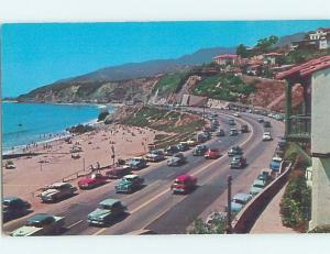 Unused 1950's OLD CARS AT BEACH Santa Monica - Los Angeles California CA G5610