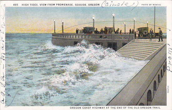 Oregon Seaside High Tides View From Promenade Hippostcard