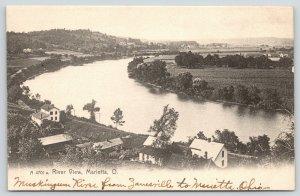 Marietta Ohio~Birdseye River~Homes Along Waterfront~RR Tracks~c1905 Rotograph