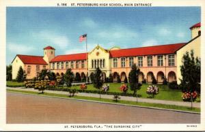 Florida St Petersburg High School Main Entrance 1936 Curteich