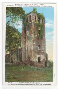 Tower Ruined by Captain Morgan Raid Old Panama 1920s postcard