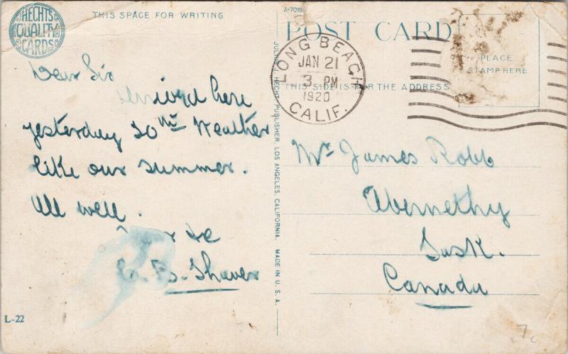 The Plunge Long Beach CA Bath House California c1920 Postcard F7
