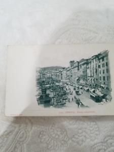 Antique Postcard from Italy, Genova - Piazza caricamento
