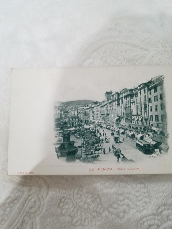 Antique Postcard from Italy, Genova - Piazza caricamento