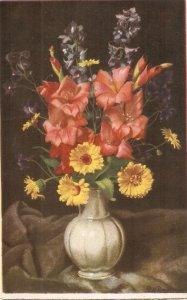 Beautiful flowers in vase Nice vintage Swiss postcard