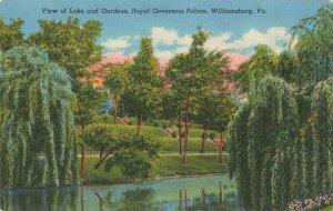 Postcard View of Lake and Gardens, Royal Governors Palace, Williamsburg, VA ME3.