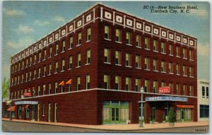 Elizabeth City, North Carolina Postcard New Southern Hotel Street View Linen