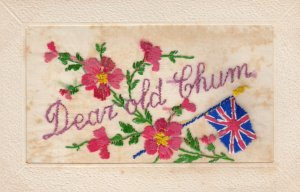 Hand Sewn;  Red Flowers & British Flag, Dear old Chum, 00-10s
