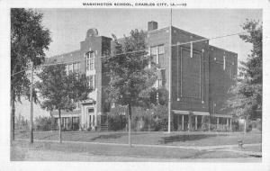 Charles City Iowa Washington School Street View Antique Postcard K83013