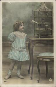 Sweet Little Girl Bird Cage c19910 Tinted Real Photo Postcard - French