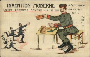WWI Propaganda Satire French Soldier Gives Bread to Germans Prussians PC