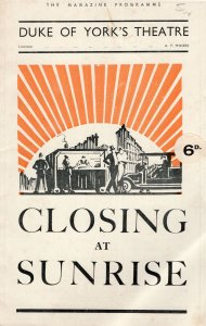 Closing At Sunrise Percy Marmont Duke Of Yorks Theatre Programme
