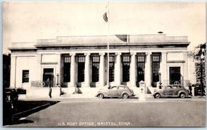 Bristol, Connecticut Postcard U.S. POST OFFICE Street View c1940s Collotype