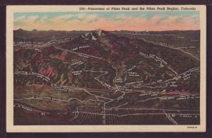 Panorama Pikes Peak and Region CO Post Card 3635