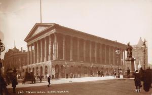 Birmingham UK Town Hall~Robert Pell Statue~Building Behind (Gone?)RPPC c1910