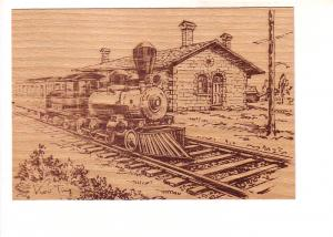 Steam Engine, Railway Train Cars in Station Sketch on Thin Wood, Made in Canada