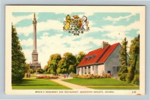 Queenston Heights Ont. Canada - Brock's Monument & Restaurant Vintage Postcard