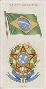 Player Vintage Cigarette Card National Flags & Arms No 6 Brazil  1936