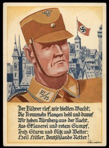 3rd Reich Reichsparteitag 1933 SA Mann Slogan Card Rally USED Last Day 100284