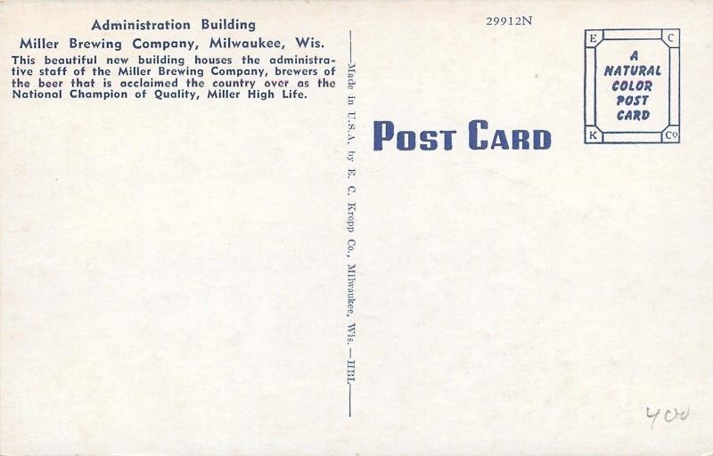 Milwaukee Wisconsin~Miller Brewing Company~Administration Bldg~1950 Postcard