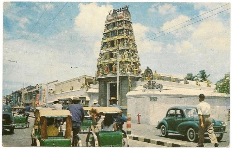 Singapore Sri Mariamman Hindu Temple 1950s postcard unused