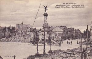 France Reims en 1919 Place Drouet d'Erlon La Fontaine Sube