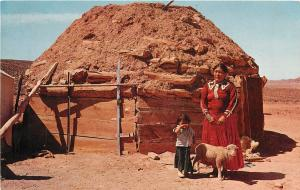 Navajo Indian Woman and Child Hogan Arizona AZ New Mexico Utah NM UT Postcard