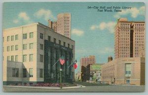 Fort Worth TX~City Hall~Public Library~Fair Bldg~Life of America Bldg~Postcard