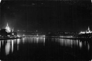 Hungary Budapest Ansicht, View at night 1964