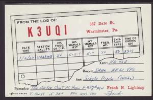 K3UQI,Westminster,PA QSL Postcard