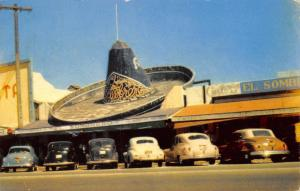 Tijuana Mexico~El Sombrero Store~Giant Hat on Roof~1940s Cars~Postcard