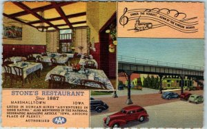 Marshalltown, Iowa Postcard STONE'S RESTAURANT 2 Views Roadside Linen 1950