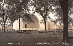 Manchester IA~Bandshell & Benches in Tirrill Park~Real Photo Postcard~RPPC 1940s