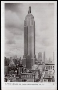 NY YORK CITY Empire State Building (102 Stories - 1250 feet high) - RPPC