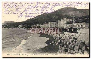Old Postcard Menton The Beach and the Promenade du Midi