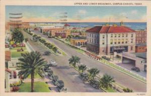 Texas Corpus Christi Upper and Lower Broadway 1941 Curteich