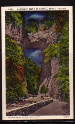 Virginia PC Moonlight Scene Natural Bridge unused