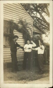 Men Being Silly Playing Hold-Up Guns c1910 Postcard