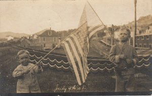 RP: CENTRAL CITY , South Dakota , 1908 ; Kids with USA Flags , July 4th