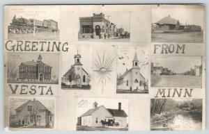 Vesta Minnesota~Multi Mini Views~Railroad Depot~Creamery~Main Street~1911 RPPC
