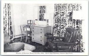 Osceola, Iowa Postcard Interior of KLEMME MOTEL Room View c1950s Unused