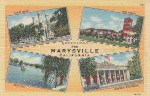 MARYSVILLE , California , 1930-40s ; Greetings, 4-views