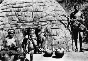 African Nude Postcard Natives in Villa Unused