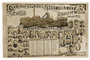 Postcard 1908 Colliery Explosion at the Maypole Pit, Abram, Nr Wigan, Repro I48