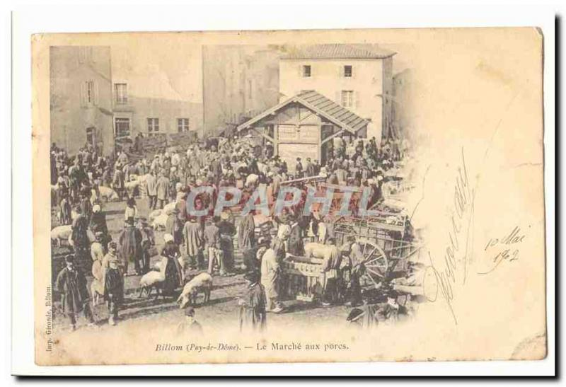 Billon Old Postcard The market pigs TOP
